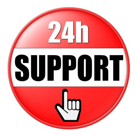 24h support button red Stock Photo - 4817781