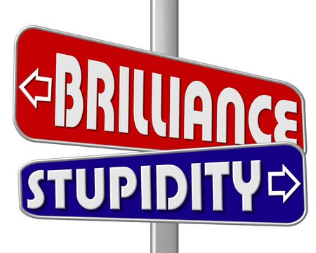 brilliance: road sign - brilliance - stupidity