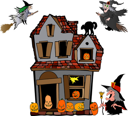 house fly: halloween house with witches Illustration