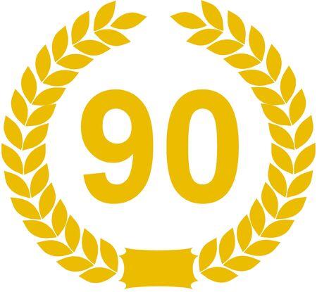 90: laurel wreath 90 years