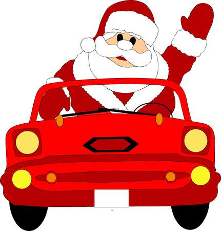 santa claus in a red car