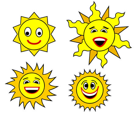 set of smiling suns Stock Vector - 4843081
