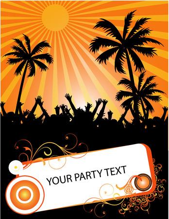 nightlife: beach party placard
