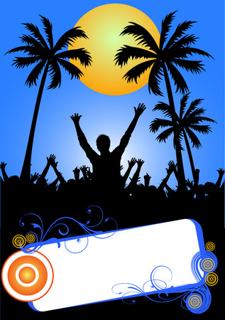 live music: blue summer party placard