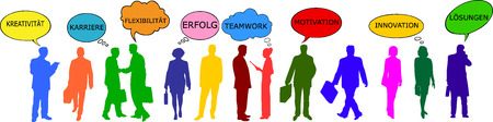 communicating: illustration of colorful business people