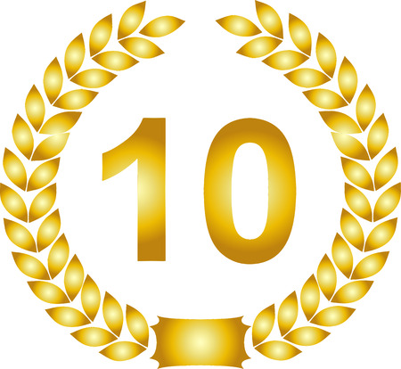 golden laurel wreath 10 years: illustration of a golden laurel wreath 10 years