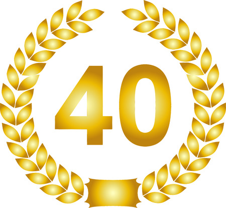 40 years: illustration of a golden laurel wreath 40 years