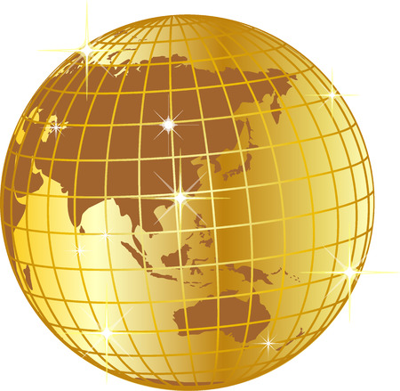 illustration of a golden globe asia and australia