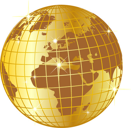 golden globe: illustration of a golden globe europe and africa Illustration