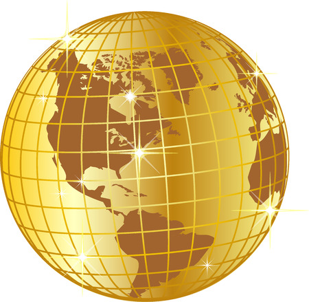 illustration of a golden globe north and south america