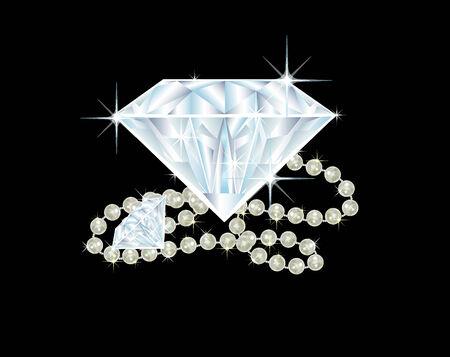 Ilustración de dos diamantes grandes y un collar de perlas