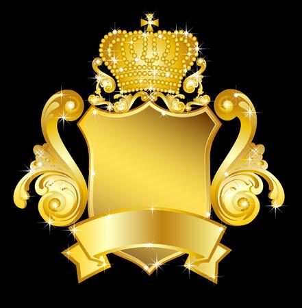 armory: illustration of a golden heraldic shield