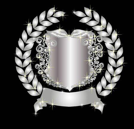 illustration of a silver heraldic shield with laurel wreath illustration