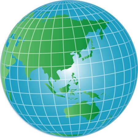 illustration of a 3d globe asia and australia Stock Illustration - 4953338