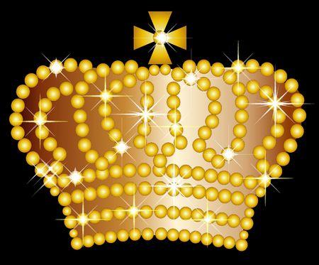 golden crown: Illustration of a golden crown on black background