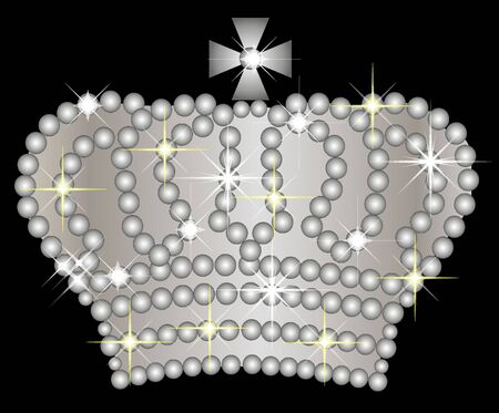 Illustration of a silver crown on black background
