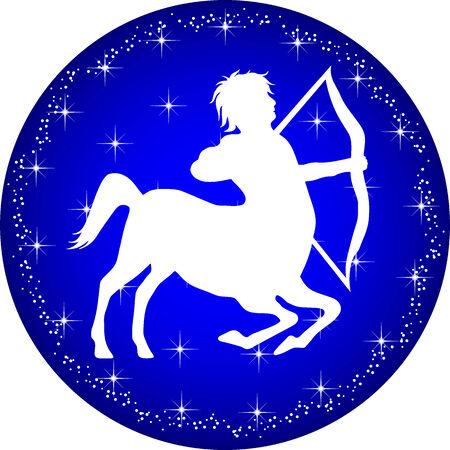 sagittarius: uno illustrazione di un pulsante zodiaco Sagittario Vettoriali