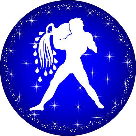 a illustration of a zodiac button aquarius