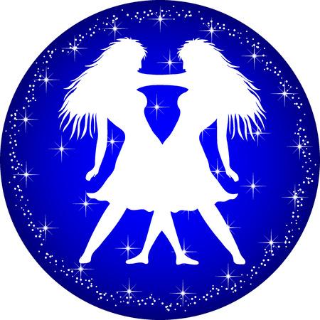 a illustration of a zodiac button gemini
