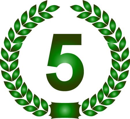 illustration of a green laurel wreath 5 years