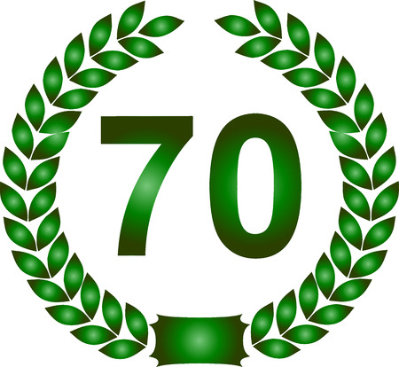 70 years: illustration of a green laurel wreath 70 years Illustration