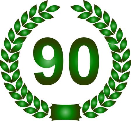 90 years: illustrazione di una corona d'alloro verde 90 anni