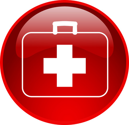 www at sign: illustration of a red first aid button