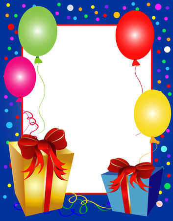 illustration of a colorful party background with balloons and presents Vector
