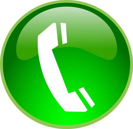 phone button: illustratie van een groene telefoon knop Stock Illustratie