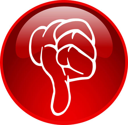 illustration of a red thumb down button