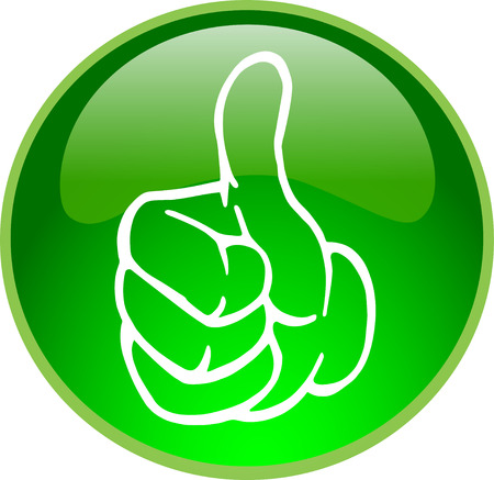 thumb down: illustration of a green thumb up button
