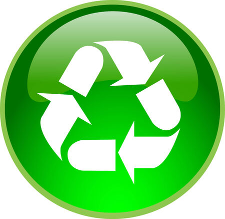 illustration of a green recycling button Stock Vector - 5168053