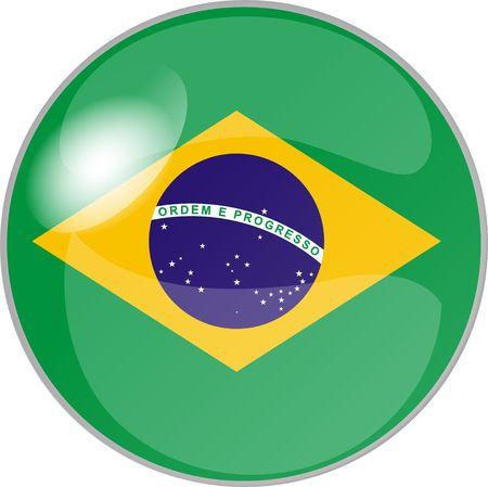 glas: illustration eines buttons brasilien Stock Photo