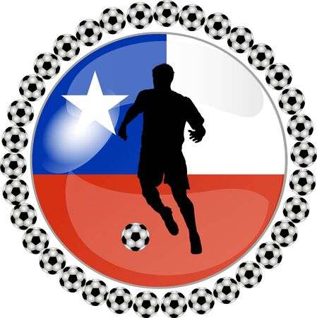 illustration of a soccer button chile illustration