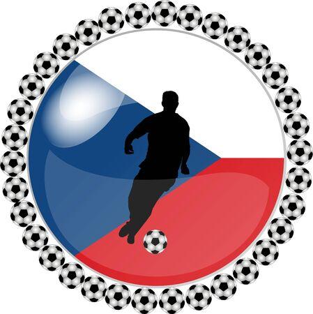 republik: illustration of a soccer button czech republik