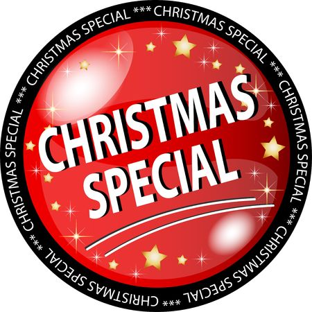 sybol: illustration of a red christmas special button Stock Photo