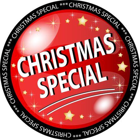 ilustración de un botón rojo especial de Navidad