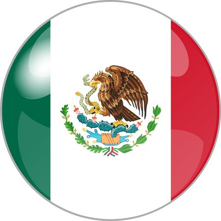 national colors: illustration of a button with flag mexico