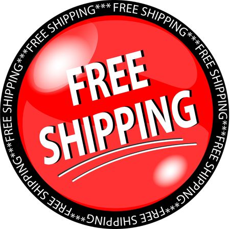 illustration of a red free shipping button Stock Photo