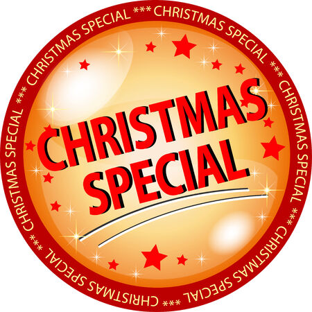 sybol: illustration of a golden christmas special button