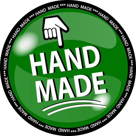illustration of a green hande made button Vetores