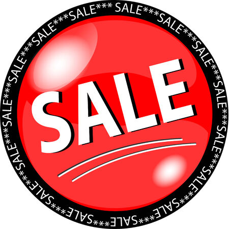 illustration of a red sale button Illustration