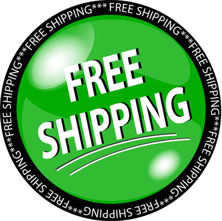 illustration of a green free shipping button