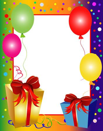 verjaardag frame: illustratie van een kleurrijk feest achtergrond met ballonnen en presenteert Stock Illustratie