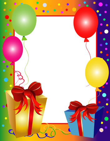 birthday frame: illustration of a colorful party background with balloons and presents Illustration