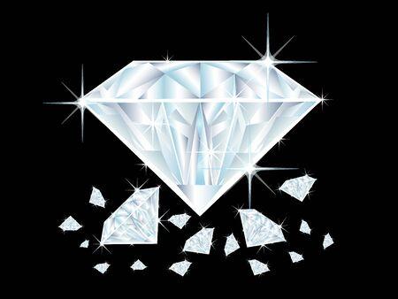 illustration of diamonds on black background Stock Illustration - 5207156