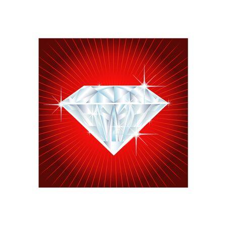 illustration of a big diamond on red background Stock Illustration - 5207167