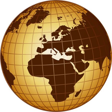 illustration of a globe europe and africa illustration