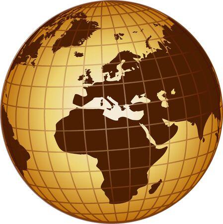ilustración de un mundo África y Europa Foto de archivo