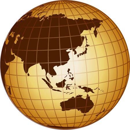 ilustración de un globo de Australia y Asia